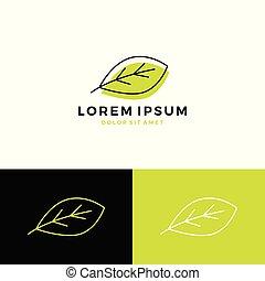 arte, vettore, logotipo, linea, icona, foglia