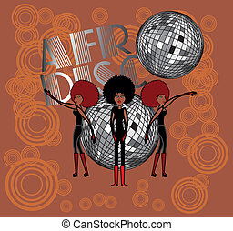 arte, vettore, ragazze, afro, discoteca