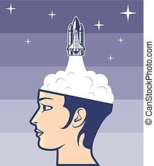 arte, viagem, cérebro, espaço