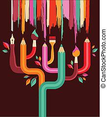 arte, y, creación, árbol, concepto, ilustración