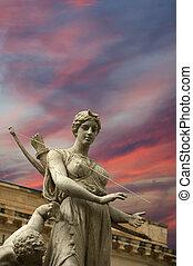 Artemide fountain. Syracuse (Siracusa, Sarausa)-- historic city in Sicily, Italy
