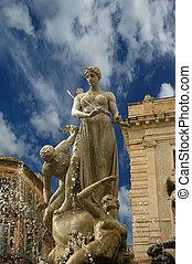 artemide, fountain., syracuse, (siracusa, sarausa)--,...