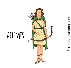 Artemis, ancient Greek goddess greek of the hunters and the moon. Mythology. Flat vector illustration. Isolated on white background.