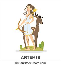 Artemis greek goddess from ancient mythology. Female character