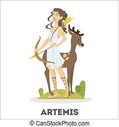 Artemis greek goddess from ancient mythology. Female character