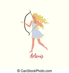 Artemis Olympian Greek Goddes, ancient Greece myths cartoon character vector Illustration on a white background