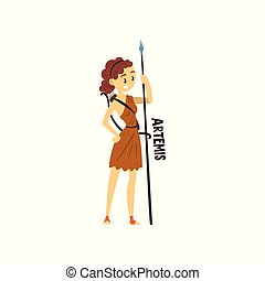 Artemis Olympian Greek Goddess, ancient Greece mythology character vector Illustration on a white background.