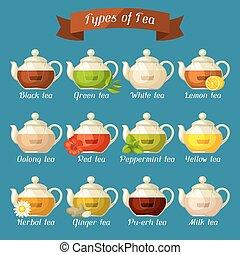 Verschieden, satz, bestandteile, glas, geschmäcke, tea., tassen ...