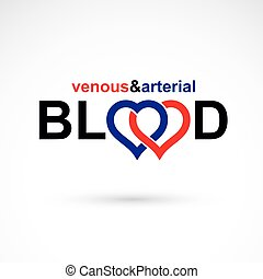 Arterial and venous blood, blood circulation conceptual...