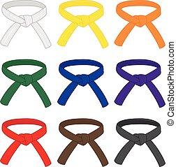artes, cinturones, diferente, grado, marcial, vector, ...