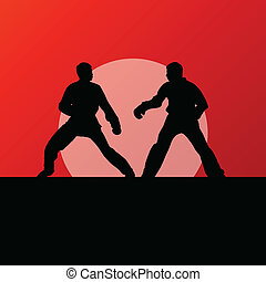 artes, combate, patear, kwon, lucha, tae, marcial, luchadores, vector, ilustración, plano de fondo, activo, siluetas, deporte