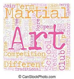 artes, concepto, cómo, texto, escuela, marcial, wordcloud, elegir, plano de fondo