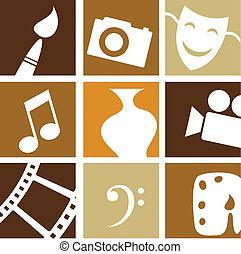 artes, creativo, iconos