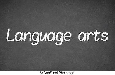 artes de la lengua, lección, en, pizarra, o, chalkboard.