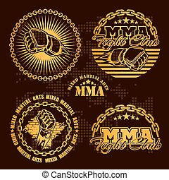artes, emblema, set., -, marcial, vector, mezclado, mma,...