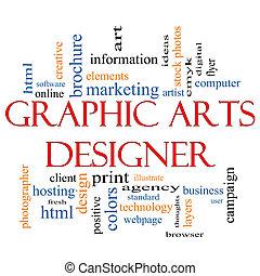 artes, gráfico, palabra, diseñador, concepto, nube