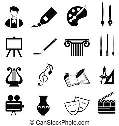 artes, jogo, ícone
