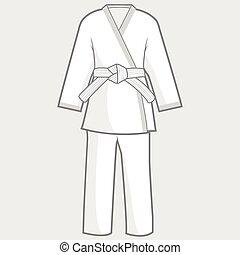 artes, kimono, ilustración, marcial, suit., vector