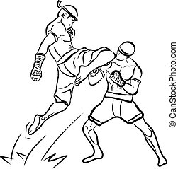 artes, mano, mu, marcial, dibujado, tailandés
