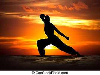 artes marciais, condicão física, em, pôr do sol