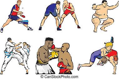 artes marciais, -, figuras, esportes