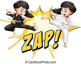 artes marciais, meninas, dois