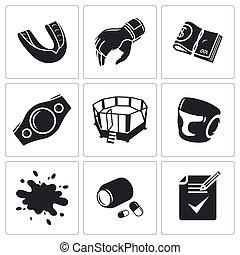 artes marciais, vetorial, jogo, ícones