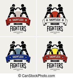 artes, marcial, misturado, logotipo, mma, design.