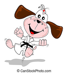 artes marciales, caricatura, perro
