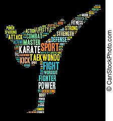 artes marciales, info-text, gráficos, y, arreglo, palabra, nubes, conc