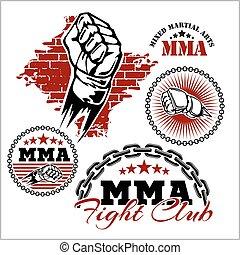 artes marciales, insignias, emblema, mma, mezclado