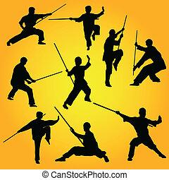 artes marciales, posturas, grupo