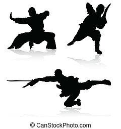 artes marciales, vector, siluetas