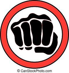 artes, potencia, marcial, puño, logotipo, mma