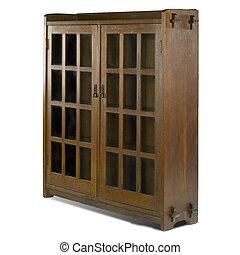 artes y artes, puerta de vidrio, armariopara libros