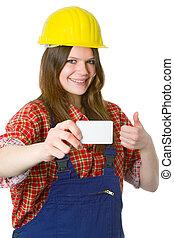artesana, businesscard, joven, amistoso