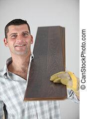 artesano, proceso de llevar, tablas de madera