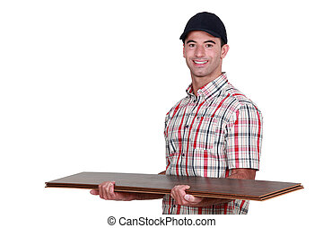 artesano, tenencia, un, pocos, tablas del suelo