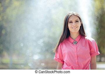 artesian, улыбается, женщина, городской, фонтан, умная, ...