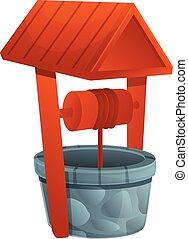 Artesian water well icon, cartoon style