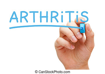 Arthritis Blue Marker - Hand writing Arthritis with blue...