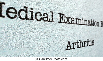Arthritis medical report