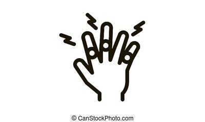 arthritis of finger joints Icon Animation. black arthritis of finger joints animated icon on white background