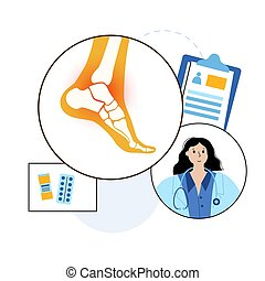 Arthritis joint in the ankle. Rheumatoid arthritis. Doctor help and medical exam in clinic. Pain in leg. Human foot bone anatomy flat vector illustration. Skeleton x ray scan concept. Medical poster.