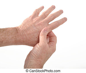 Arthritis - Man holding his aching thumb