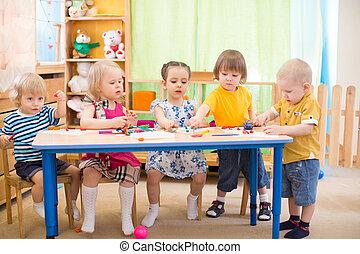 Arti, bambini, gruppo, asilo,  playroom, cultura, arti