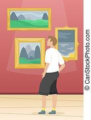 arti, classico, dipinti, museum., famoso, occhiate, artists., uomo, multa, art.
