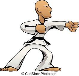 arti, colorare, illustrazione, karate, marziale, vettore, tipo, cartone animato