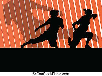 arti marziali, attivo, donne, stesso difesa, combattenti,...