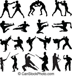 arti marziali, vario, silhouette